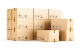 Cardboard boxes on white background Stock Photo