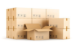 Cardboard boxes on white background Stock Photography