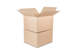 Cardboard boxes on white background. Royalty Free Stock Photo