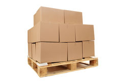 Cardboard Boxes On Wooden Palette Royalty Free Stock Photo