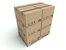 Cardboard boxes on wooden palette isolated on white Stock Images