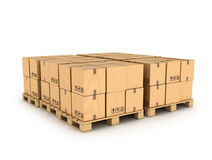 Cardboard boxes on wooden palette Royalty Free Stock Photography