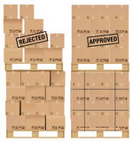 Cardboard boxes on wooden palette Stock Photo