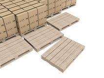Cardboard boxes on wooden paletts, warehouse Stock Photo
