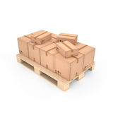 Cardboard boxes on wooden pallet (3d illustration). Cardboard boxes on the wooden pallet (3d illustration Royalty Free Stock Images