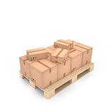 Cardboard boxes on wooden pallet (3d illustration). Cardboard boxes on the wooden pallet (3d illustration Royalty Free Stock Photo
