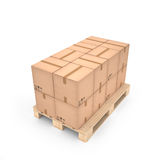 Cardboard boxes on wooden pallet (3d illustration). Cardboard boxes on wooden pallet Stock Images
