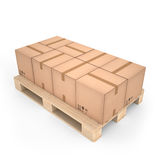Cardboard boxes on wooden pallet (3d illustration). Cardboard boxes on wooden pallet Stock Photography