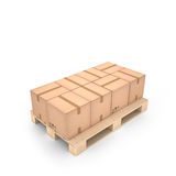 Cardboard boxes on wooden pallet (3d illustration). Cardboard boxes on wooden pallet Royalty Free Stock Photo