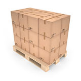 Cardboard boxes on wooden pallet (3d illustration). Cardboard boxes on wooden pallet Stock Images