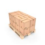 Cardboard boxes on wooden pallet (3d illustration). Cardboard boxes on wooden pallet Stock Photography