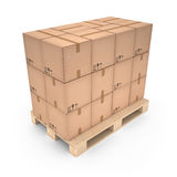 Cardboard boxes on wooden pallet (3d illustration). Cardboard boxes on wooden pallet Royalty Free Stock Photos