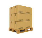 Cardboard Boxes on Wooden Pallet Stock Images
