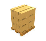 Cardboard Boxes on Wooden Pallet Stock Image