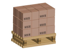 Cardboard boxes on wooden pallet Royalty Free Stock Photos