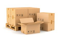 Cardboard boxes and wooden pallet Stock Photography