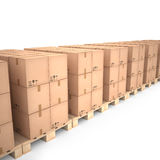 Cardboard boxes on wooden pallets (3d illustration). Cardboard boxes on wooden pallets Royalty Free Stock Image