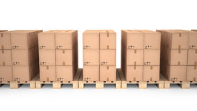 Cardboard boxes on wooden pallets (3d illustration). Cardboard boxes on wooden pallets Royalty Free Stock Images