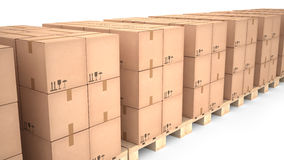 Cardboard boxes on wooden pallets (3d illustration) Royalty Free Stock Image
