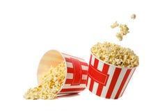 Cardboard buckets popcorn isolated on white background
