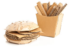 Cardboard burger and fries. Cheeseburger and french fries made from from cardboard - unhealthy eating or fast food concept Royalty Free Stock Image