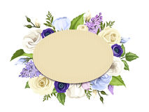 Cardboard card with blue, purple and white roses, lisianthuses, anemones and lilac flowers. Vector eps-10. Stock Images
