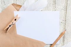 Cardboard card and envelope Royalty Free Stock Images