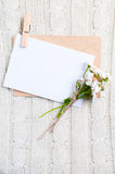 Cardboard card with flowers Royalty Free Stock Photo