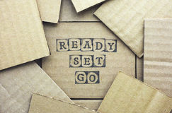Cardboard card with words Ready Set Go made by black alphabet st Royalty Free Stock Images