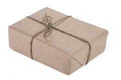 Cardboard carton wrapped with brown paper and tied with string Royalty Free Stock Photography
