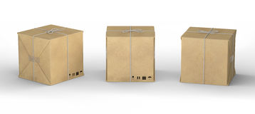 Cardboard carton wrapped with  brown  paper and tied with string Royalty Free Stock Photo