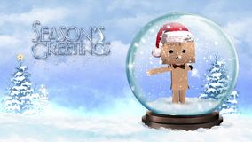 Cardboard Character in a Snow Globe with Seasons Greetings stock footage