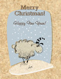Cardboard Christmas card with sheep. Greeting Card with sheep. Hand-drawn vector royalty free illustration