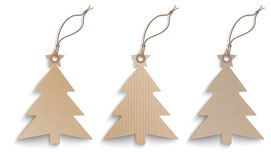 3 Cardboard Christmas Tree Price Stickers Set Stock Photo