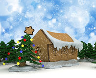 Cardboard Christmas trees and houses Royalty Free Stock Image