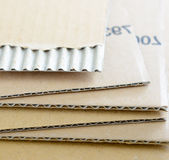 Cardboard corrugated sheets close up view Royalty Free Stock Photos