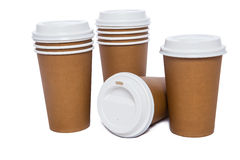Cardboard cups for hot and cold drinks Stock Images
