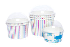 Cardboard cups for hot and cold drinks Royalty Free Stock Images