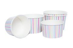 Cardboard cups for hot and cold drinks Stock Photo