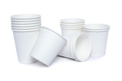 Cardboard cups for hot and cold drinks Stock Photos