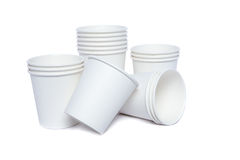 Cardboard cups for hot and cold drinks Royalty Free Stock Photo
