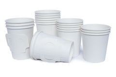 Cardboard cups for hot and cold drinks Stock Image