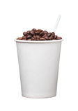 Cardboard disposable cup with coffee and spoon on white background Royalty Free Stock Image