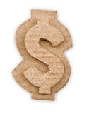 Cardboard dollar sign. On white background Stock Images