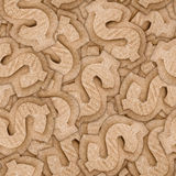 Cardboard dollar sign seamless texture Stock Images
