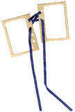 Cardboard double frame for photos with a bow royalty free stock photo