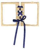 Cardboard double frame for photos with a bow stock images