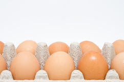 Cardboard Egg Box With Brown Eggs Royalty Free Stock Images