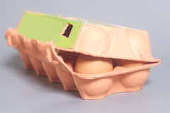 Cardboard egg box with brown eggs on gray Stock Image
