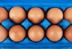 Cardboard egg box with eggs Royalty Free Stock Image